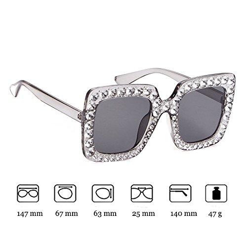 de Gafas sol de Gray ADEWU marcos de de deslumbrantes Gafas UV400 1 diamantes grandes sol cuadrados brillantes Mujeres qq8U7t