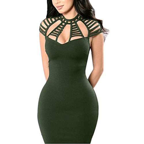 Price comparison product image Goddessvan Women's Sexy Sleeveless Hollow Out Cocktail Party Mini Bodycon Clubwear Dress (L,  Army Green)