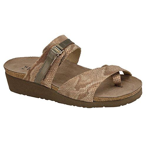 NAOT Footwear Women's Jessica Sandal Beige Snake Lthr/Pewter Lthr 6 M ()