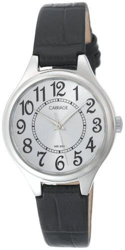 (Carriage Women's C3C391 Silver-Tone Round Case Silver-Tone Dial Black Croco Leather Strap)