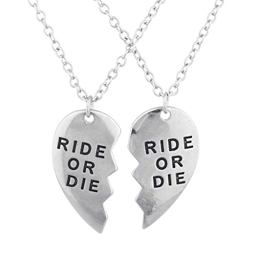 Lux Accessories Silver Tone Ride or Die BFF Broken Heart Charm Necklace Set 2PC