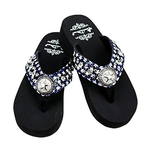 Montana West Flip Flop Sandals Hand Beaded Embroidered Studded (8B(M), Bk Bling Cross)