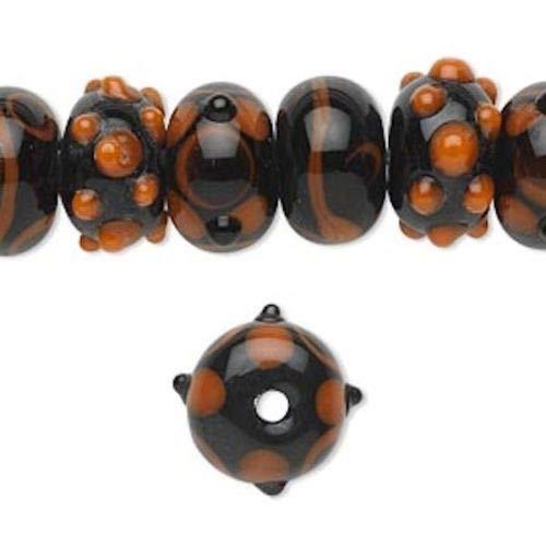20 Lampwork Rondelle Black Orange Bumpy Beads ~ 14x9mm