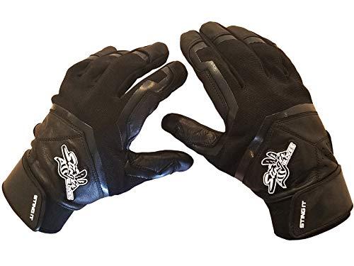 Stinger Sting Squad Black Out All Black Batting Gloves for Baseball & Softball