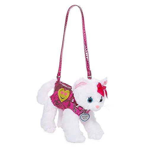 (Poochie White Cat Plush Purse with Emoji Heart Applique, Pink)
