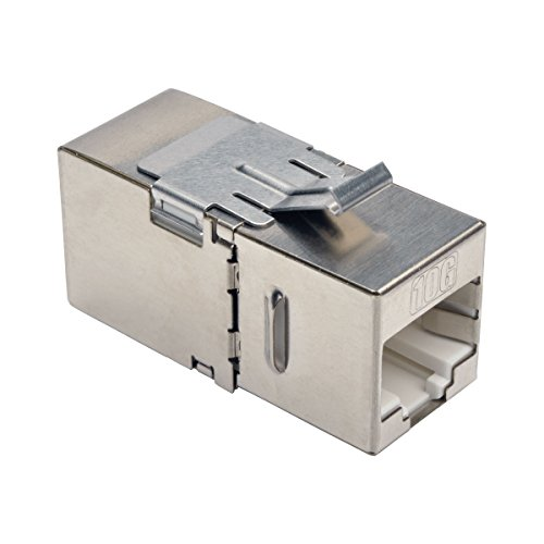 Tripp Lite Cat6a Straight Through Modular Shielded In Line Snap-In Coupler w/ 90 Degree Down Angled Port RJ45 F/F (N235-001-SH-6AD)