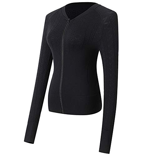 Lemedy Women Full Zip Running Jacket Stretchy Workout Yoga Sports Coat (S, Black)