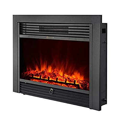 "ZOUQILAI Electric Fireplace Smart Adjustment Embedded Electric Fireplace Heater 1500W Heater with Manual & Remote Control 28.7"" x 21"" Black"