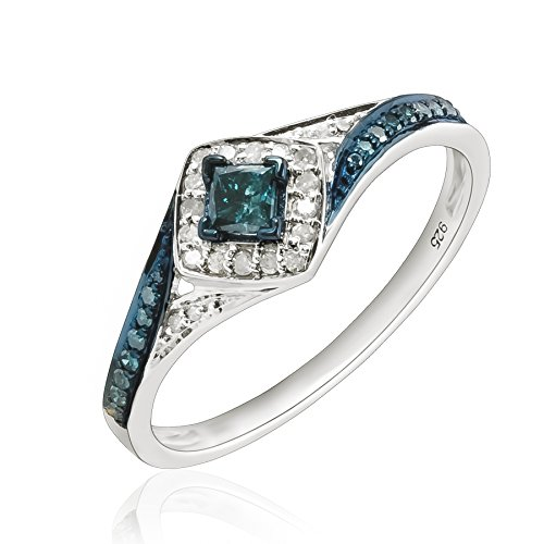 wholesale Prism Jewel 0.50Ct Princess and Round Shaped Blue Diamond with Diamond Engagement Ring for sale