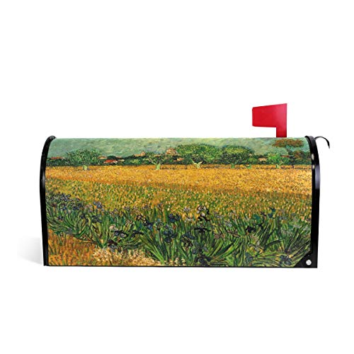 "Van Gogh Art Arles with Irises Magnetic Mailbox Cover Seasonal Outdoor 20.7""x18"""