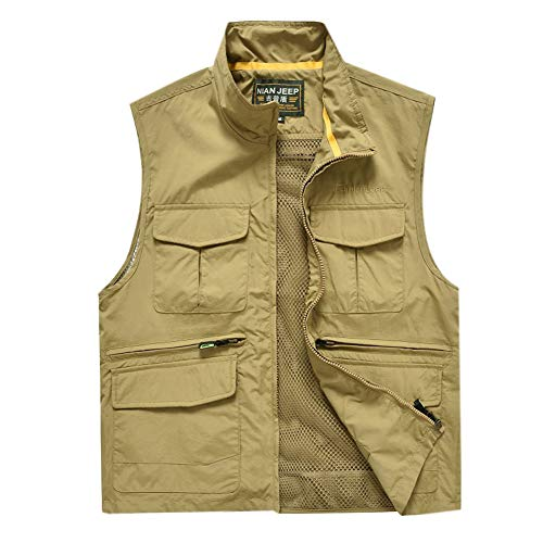 Men Vest Multi-Pocket Outdoor Waistcoat Casual Reporter Travel Jacket for Camping Fishing Photography Sleeveless Tops-Khaki-L