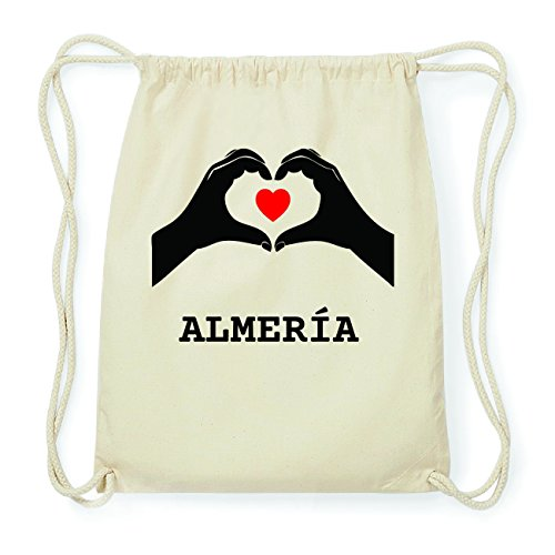 JOllify ALMERÍA Hipster Turnbeutel Tasche Rucksack aus Baumwolle - Farbe: natur Design: Hände Herz mCLfQcv