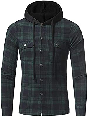 Sue-Supply Camisa con Capucha de Franela a Cuadros Bolsillos Dobles Ocio Ocasional Patrón de Cuadros Camisa de Manga Larga para Hombres: Amazon.es: Hogar