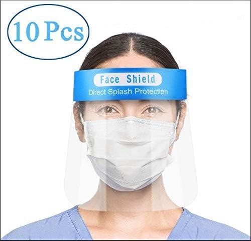 Enjoyee 10 pzs Visera Protectora para la Cara, plástico Ligero, Ajustable, Transparente, para Evitar la Saliva, Gotas, Polen y Polvo(Azul)
