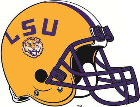 3 inch LSU Football Helmet Decal Tigers Louisiana State University Logo LA Removable Wall Sticker Art NCAA Home Room Decor 3 1/2 by 2 1/2 inches - Louisiana State Tigers Lsu Helmet