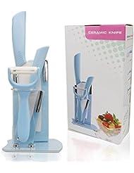 Ceramic Knives Set By Exlif, Ergonomic Handle 3 Piece Kitchen Knife Set with Adjustable Holder Stand (Blue)