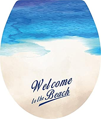 Boodecal Beach Toilet Lid Cover Stickers For Bathroom Seat Peel and Stick Decals 15x 12 Inches
