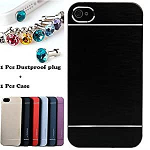 SOL DSD? 1pcs Luxury Solid Color Brushed Aluminium Case and 1pcs Dustproof Plug for iPhone 5/5S(Assorted Colors) , Black