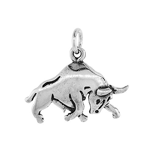 Sterling Silver Bull Pendant inch