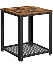 VASAGLE Industrial End Table, 2-Tier Side Table, Storage Shelf, Rustic Brown and Black ULET41X