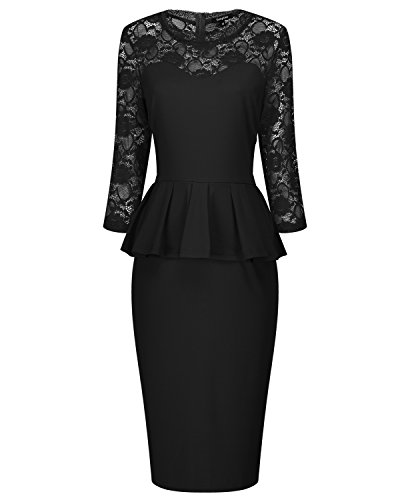 Tempt Me Women Vintage Lace Half Sleeve Peplum Waist Knee Length Work Pencil Dress Black XL (Dress Waist Peplum)