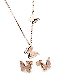 Rose Gold Stainless Steel Butterfly Pendant Necklace 16-18 inch