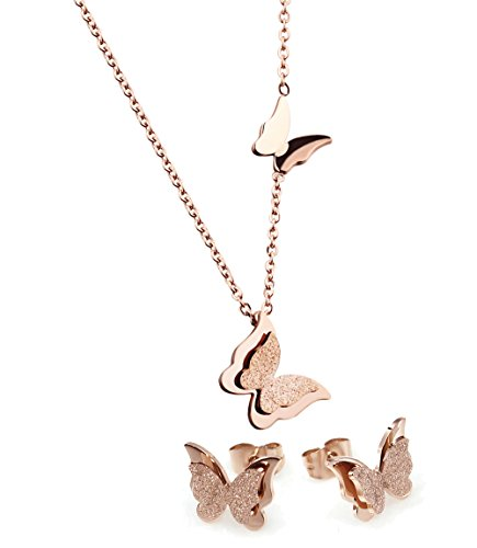 [WDSHOW Rose Gold Stainless Steel Butterfly Pendant Necklace Stud Earrings] (Butterfly Chain Necklace)