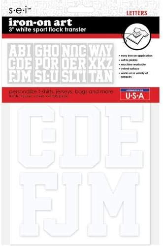 SEI 9-225 3-Inch Sport Letter Iron on Transfer 3 Sheet White