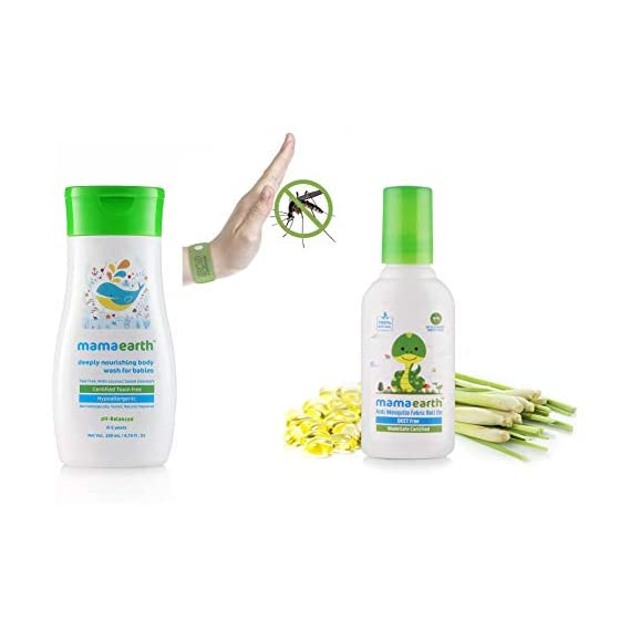 Mamaearth Deeply Nourishing wash for Babies (200 ml, 0-5 Yrs) & Anti Mosquito Fabric Roll On, 8ml Combo
