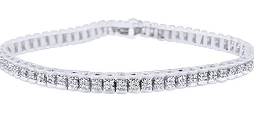 Railroad Bracelet In 14k White Gold Over Sterling Silver 0.75 CT Round Cut White Natural Diamond 8.5'' by AFFY