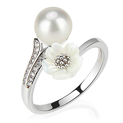 S925 Sterling Silver Daisy Flower Pearl Ring in Anniversary for Fashion Jewelry, Design Adjustable Ring for Dainty Gift