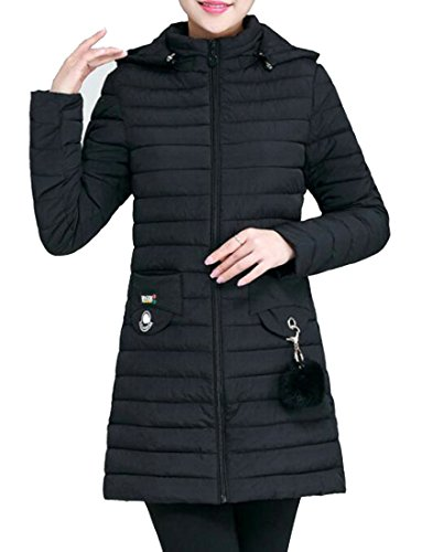 Jacket Black Hooded UK Down Sleeve today Fit Women Long Slim w84ATH1x