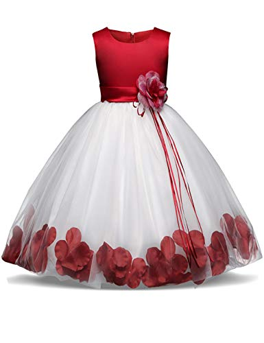 (NNJXD Girl Tutu Flower Petals Bow Bridal Dress for Toddler Girl Size 6-7 Years Big Red 1)
