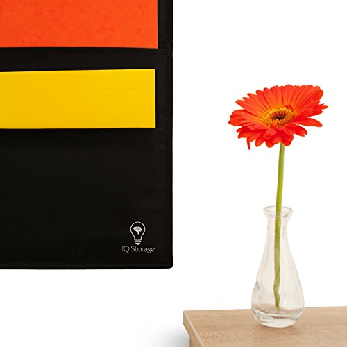Hanging File Organizer By IQ Storage: 10 Pocket Wall Mounted Folder Holder, With 2 Door Hooks, For Organizing Papers, Documents Supplies In Classroom, Office And Nursery - Heavy Duty 600D Polyester Photo #4