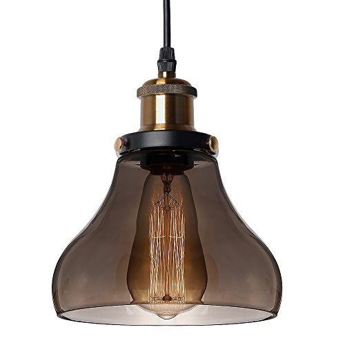 17605 Industrial Pendant Light Clear Glass Shade Ceiling Lamp Fixture Edison Incandescent or LED Vintage Hanging Lamp Fixture (Pear Shape-Smoky Grey)