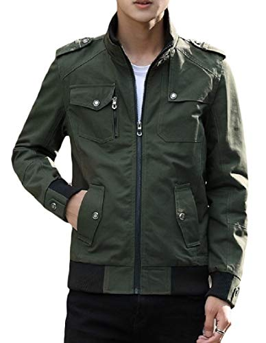 Verde Up Cappotto Militare Lavato formato Energymen Collare Basamento Più Cotone Zip Tasca Del Outwear aZgOqpFx