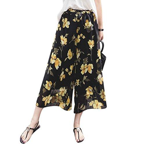 Colour Casual Confortable Style De Double Elégante Femme Eté Pantalons Fleurs Haute Impression Trousers Couche Large Dame Taille Pantalon Droit Moderne Avec Loisirs 2 Mode Ceinture Branché Bouffant 8xg4ngR6