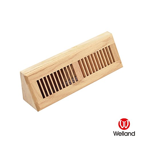 WELLAND 15 Inch Red Oak Wood Vent Baseboard Diffuser Wall Register, Unfinished ()