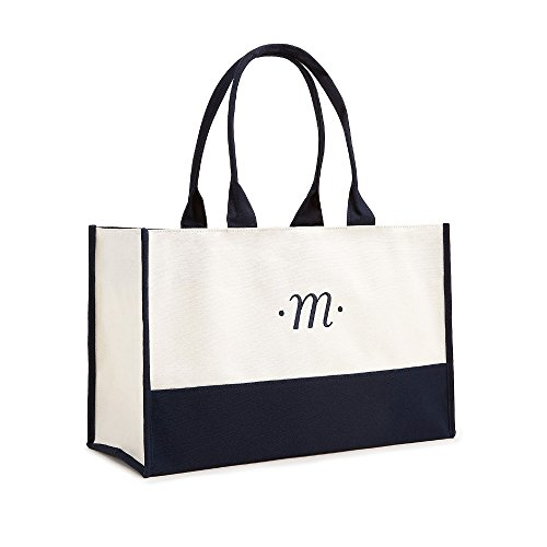 N First Classic Two and Tone Script Classic Canvas White Bag Initial Navy Tote tqgXSHxF
