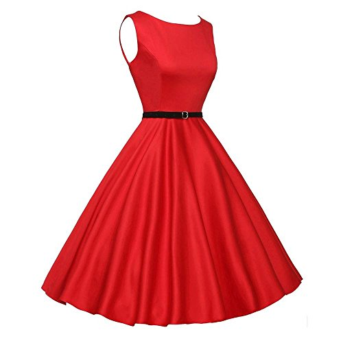 ANJUNIE Women Vintage Sleeveless Evening Party Cocktail Dress Casual Retro Prom Swing Dress(Red,L)