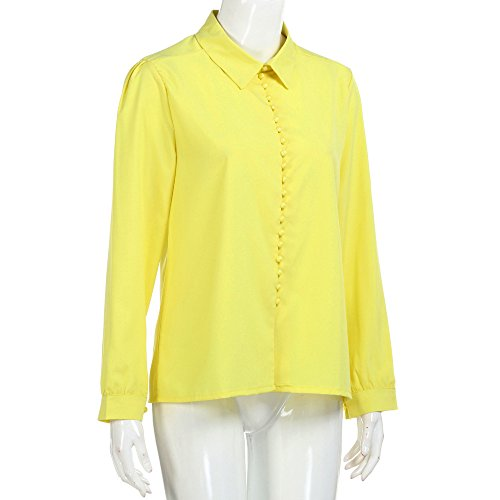 Blouse Jaune Longues Chic Casual Col Boutonne Tee Top V Shirt Classique Sixcup Femme en Chemisier Manches Fluide T Chemise YUn1IF