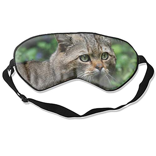 (Sleep Mask, Wild Cat Face Eyes Silk Lightweight Breathable Comfortable Soft Eyeshade with Adjustable Head Straps for Women)