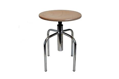 Uni form sgabello cromato gambe con sedile in faggio regolabile