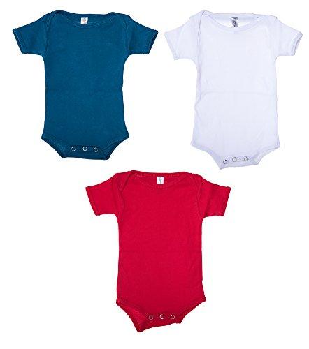 Mato & Hash Unisex Baby Cotton Infant Baby Toddler One Piece Lap Shoulder Jumpsuit - 3PK White/S.Blue/Red CA165 ()