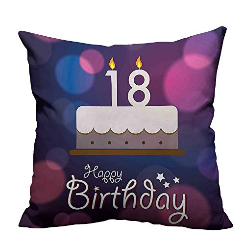 Price comparison product image YouXianHome Household Pillowcase Cartoon Birthday Party Cake with Candles Abstract Backdrop Purple and Lilac Perfect for TravelDouble-Sided Printing 20x20 inch