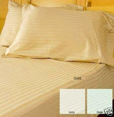 300TC 2 pairs (4pc) Stripe Gold King Pillowcases 100% Cotton by sheetsnthings