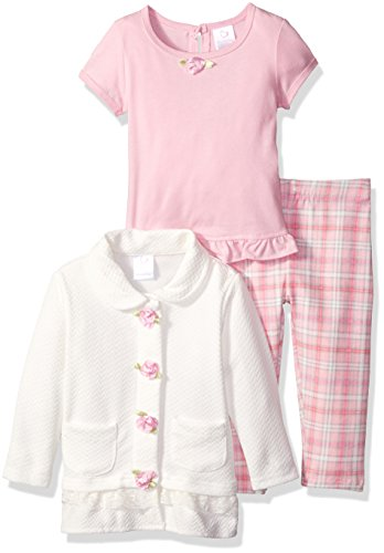 Youngland Baby Girls' 3 Piece Knit Top, Jacket, and Plaid Legging, Pink/Ivory, 24 Months