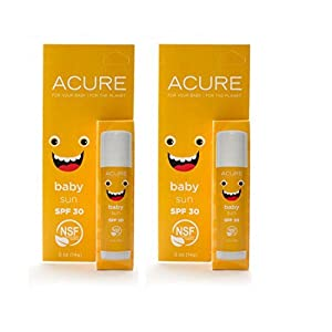 Acure Organics All Natural Organic Baby Sunscreen Stick With Zinc Oxide Sunblock, Coconut Oil, Beeswax, Candelilla, Castor Oil, Carnauba, Shea Butter, Borage, Pumpkin and Aloe, 0.5 oz (Pack of 2)
