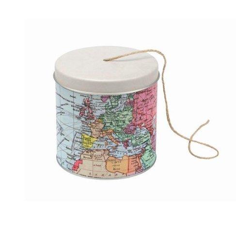 MAP OF THE WORLD - Cartography Design String / Garden Twine Dispenser Tin - Gardener's Gift