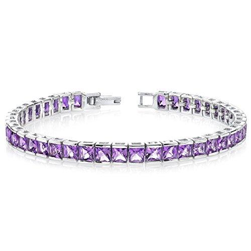 12.50 Carats Amethyst Tennis Bracelet Sterling Silver Princess Cut